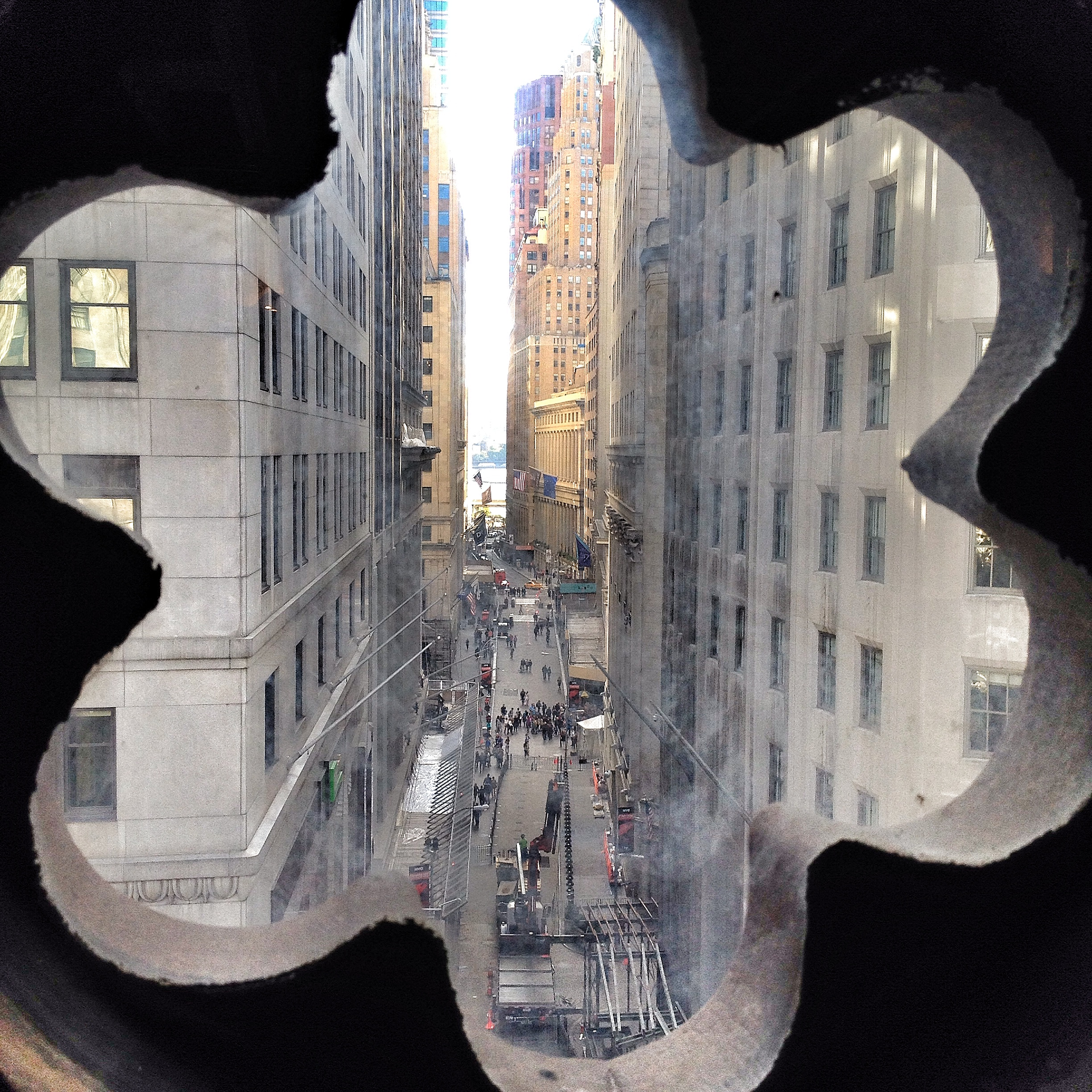 View east down Wall Street from the window of the Trinity Church ringing room