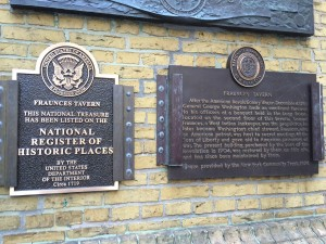 Historical markers on the Broad St. side of Fraunces Tavern