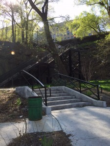 the John T. Brush Stairs up to Coogan's Bluff