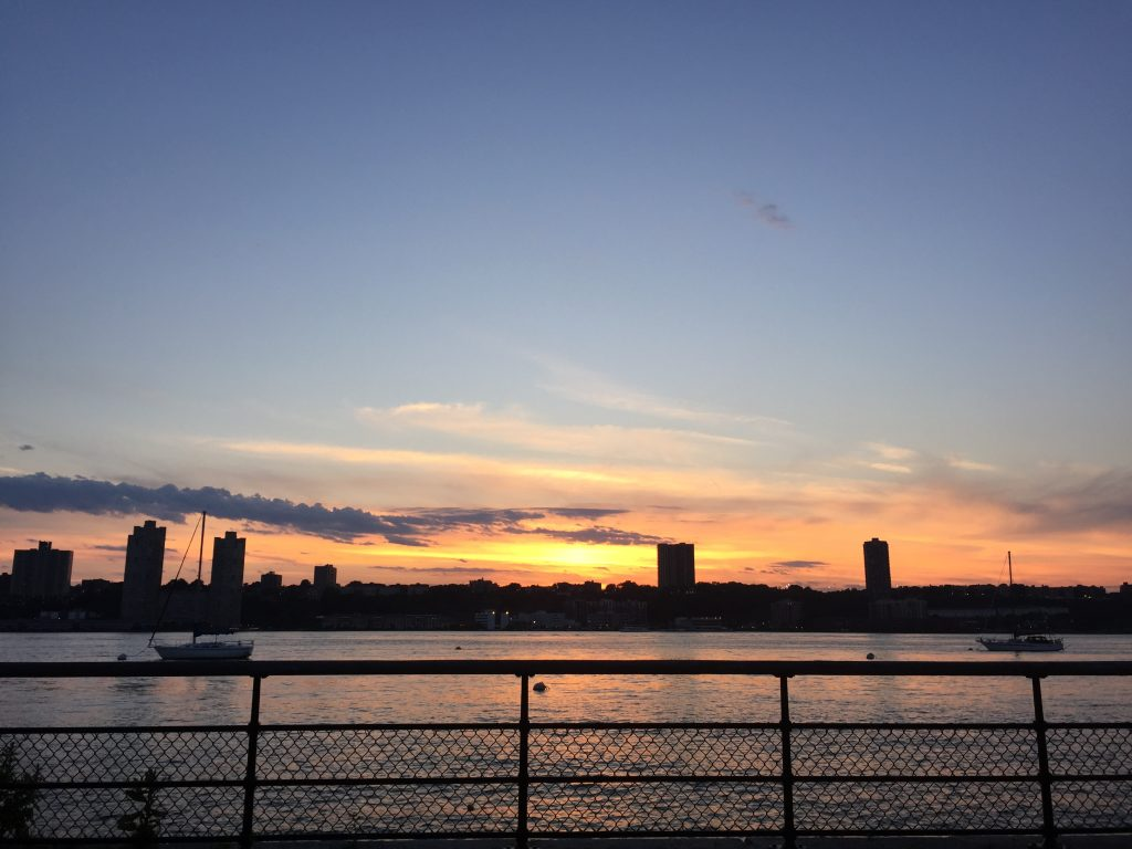 sunset from W. 80th and the Hudson River
